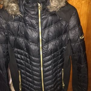 Lightweight quilted feel mid- length jacket